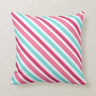 Pink and aqua diagonal stripes custom pillow