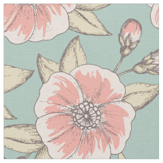 Pink and Aqua Floral Patterned Fabric | Flowers