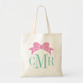 Pink and Aqua Preppy Bow Monogram Tote Bag