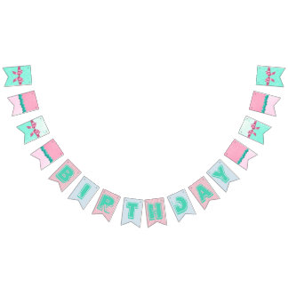 Pink and Aqua & Teal Birthday Flag Banner