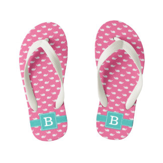 Pink and Aqua Whales Square Monogram Kid's Thongs