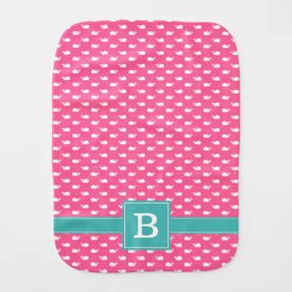 Pink and Aqua Whimsical Whales Pattern Monogram Burp Cloth