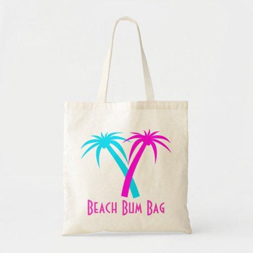 Pink and Aquamarine Palm Trees Canvas Bag