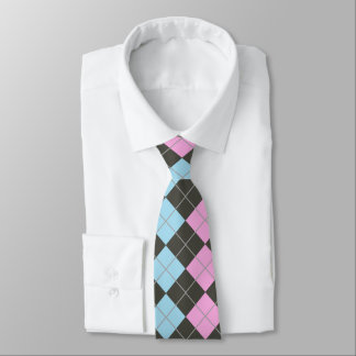 Pink and Baby Blue Argyle Tie