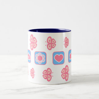 pink and baby blue butterfly mug