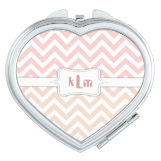 Pink and Beige Chevron Monogram Makeup Mirrors