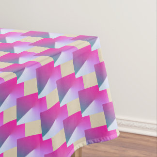 Pink and beige geometric Xmas tablecloth. Tablecloth