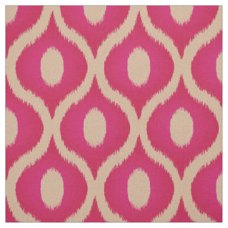 Pink and beige ikat moroccan design fabric