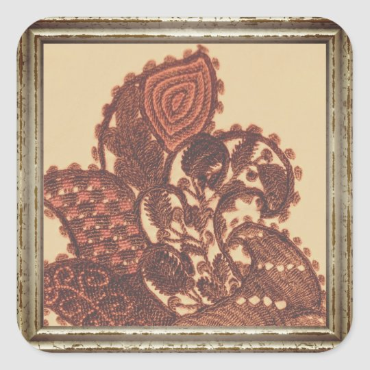 Pink And Beige Paisley Square Sticker