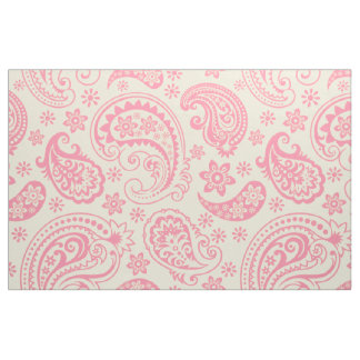 Pink And beige Vintage paisley Pattern Fabric