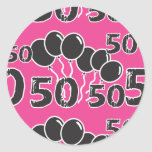 PINK and BLACK 50th Birthday - 50 yrs old Bday Round Sticker