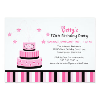 Pink and Black 70th Birthday Cake Party Invitation