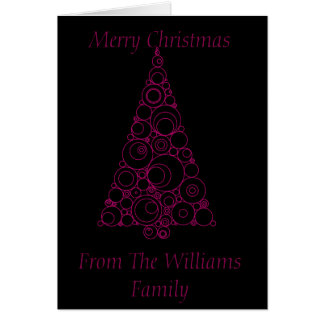 Pink and Black Abstract Art Christmas Tree Card