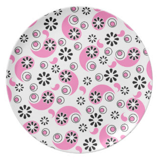 Pink and Black Abstract Flowers Plates