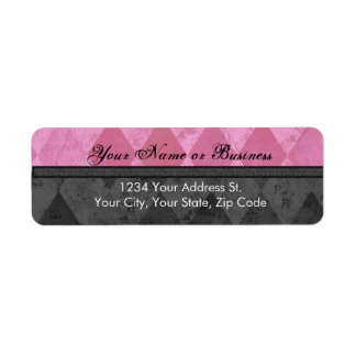 Pink and Black Argyle Return Address Label