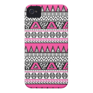 Pink and Black Aztec Print iPhone 4/4S Case