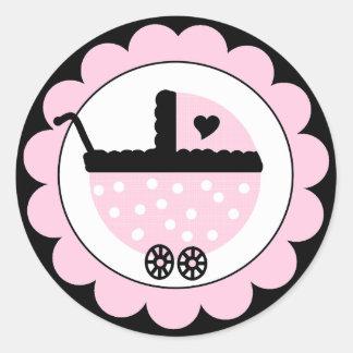 Pink and Black Baby Stroller-Baby Shower Classic Round Sticker