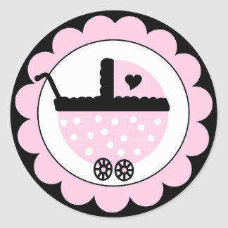 Pink and Black Baby Stroller-Baby Shower Round Sticker