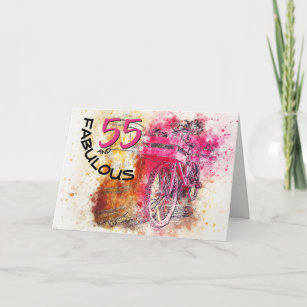Pink And Black Bicycle Art 55 Year Old Birthday Card