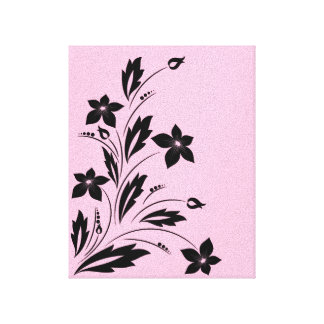 Pink and Black Botanical Flourish Canvas Print