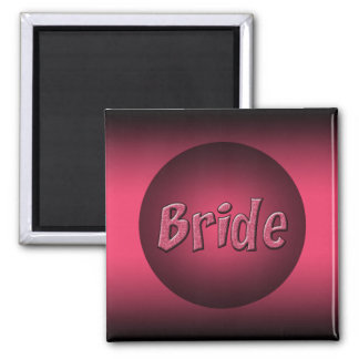 Pink and Black Bride Design Square Magnet