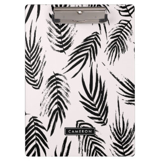 Pink and Black Brush Palm Leaves Pattern Clipboards