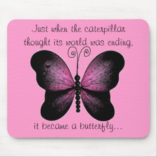 Pink and Black Butterfly Mouse Pad