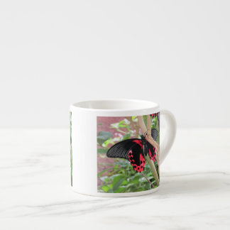 Pink and Black Butterfly on Branch Espresso Mugs