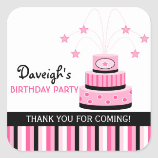 Pink and Black Cake Birthday Party Square Sticker