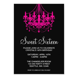 Pink and Black Chandelier Sweet Sixteen Birthday Card