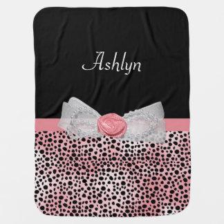 Pink and Black Cheetah Print Cute Bow and Name Baby Blanket