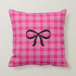 Pink and Black Chequered Bow Pillow