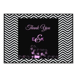 Pink and Black Chevron Thank You 13 Cm X 18 Cm Invitation Card
