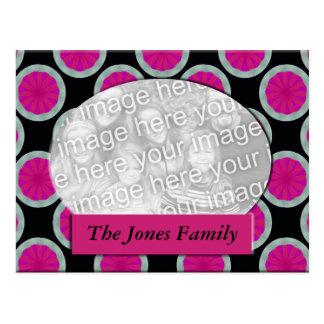 pink and black circle photo frame postcard