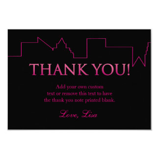 Pink and Black, City   Thank You Cards 9 Cm X 13 Cm Invitation Card