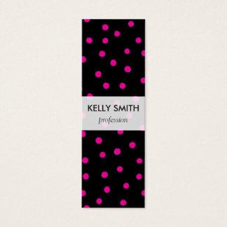 Pink And Black Confetti Dots Pattern Mini Business Card