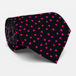 Pink And Black Confetti Dots Pattern Tie
