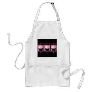 Pink and Black Cupcake Business Products Aprons