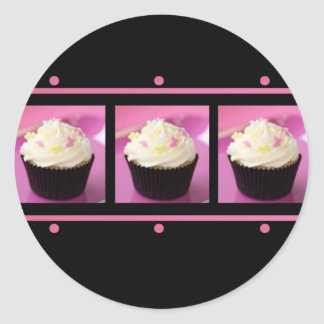 Pink and Black Cupcake Business Products Classic Round Sticker