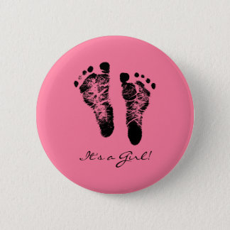 Pink and Black Cute Baby Footprints Its a Girl 6 Cm Round Badge