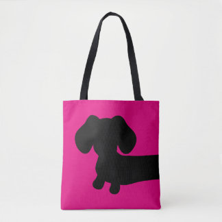 Pink and Black Dachshund Tote Bag