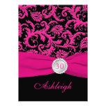 Pink and Black Damask 30th Birthday Invitation