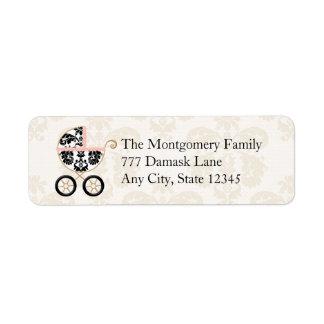 Pink and Black Damask Baby Carriage Return Return Address Label