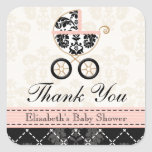Pink and Black Damask Baby Carriage Thank You