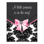 Pink and Black Damask Baby Shower 11 Cm X 14 Cm Invitation Card