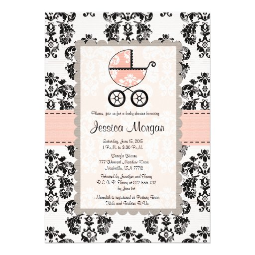 Pink and Black Damask Baby Shower Invitations