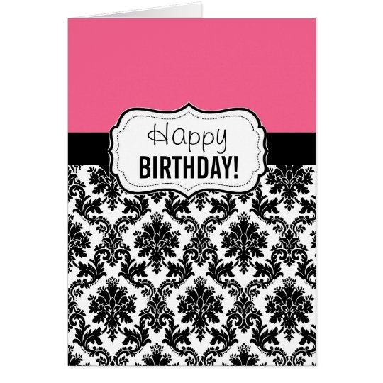 Pink and Black Damask, Birthday Card