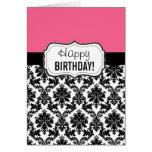 Pink and Black Damask, Birthday Greeting Card