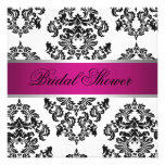 Pink and Black Damask Bridal Shower Custom Invitation