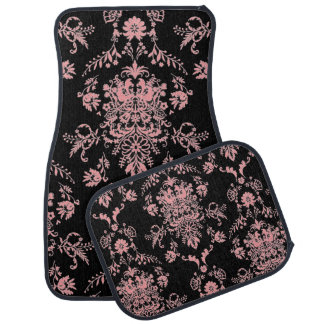 Pink and Black Damask Car Mat